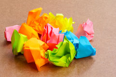 Paper ball - Crumpled of Sticky Post It Note on Cr Royalty Free Stock Photos