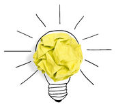 Paper ball forming a lightbulb royalty free stock image