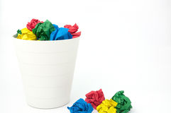 Paper ball and full recycle bin Royalty Free Stock Photography
