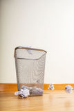 Paper ball throwing to trash Royalty Free Stock Photos