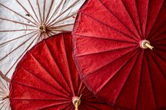 Paper and bamboo umbrella in red and white color Stock Photography