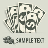Paper bank notes and coins Royalty Free Stock Photos