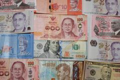 Foreign currency paper money banknotes. stock photos