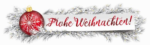 Paper Banner Bauble Frozen Twigs Christmas Frohe Weihnachten. German Text Frohe Weihnachten, translate Merry Christmas Royalty Free Stock Photo