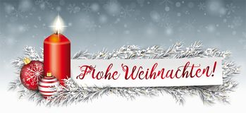 Paper Banner Bauble Frozen Twigs Merry Christmas Candle. German Text Frohe Weihnachten, translate Merry Christmas Stock Images