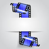 Paper banner with a blue curled film strip. Movies concept. There is in addition a vector format EPS 10 Royalty Free Stock Photos