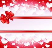 Paper banner with bow and ribbons Royalty Free Stock Photo