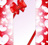 Paper banner with bow and ribbons Stock Photo