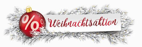 Paper Banner Christmas Bauble Twigs Weihnachtsaktion. German text Weihnachtsaktion, translate christmas sale Stock Images