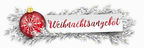 Paper Banner Christmas Bauble Twigs Weihnachtsangebot. German text Weihnachtsangebot, translate christmas offer Royalty Free Stock Photos
