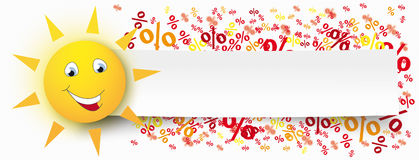 Paper Banner Funny Sun Percents Stock Photography