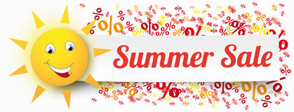 Paper Banner Funny Sun Percents Summer Sale. Funny sun face with paper banner, text Summer Sale and percents Stock Photo