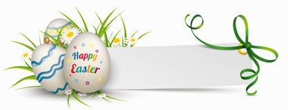 Paper Banner Green Ribbon Easter Eggs Stock Image