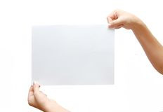 Paper Banner In Hand Isolated On White Background Stock Photo