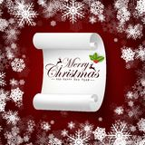 Paper banner on merry christmas and new year background with snow Stock Image