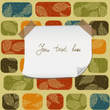 Paper banner on pattern with transparent tape Royalty Free Stock Image