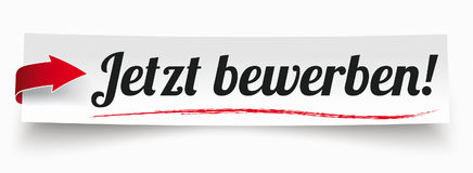 Paper Banner Red Arrow Jetzt Bewerben Royalty Free Stock Photo