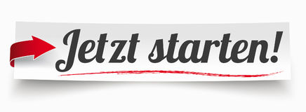Paper Banner Red Arrow Jetzt Starten. German text jetzt starten, translate start now vector illustration