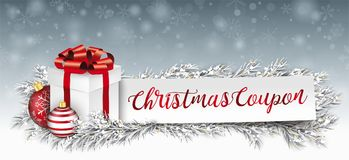 Paper Banner Red Baubles Frozen Twigs Christmas Gift Coupon Royalty Free Stock Image