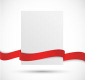 Paper banner with red ribbon Royalty Free Stock Photography