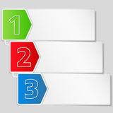 Paper banner with three steps Stock Photography