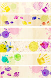 Paper banners. Collection banners - texture old paper with stains of paint Stock Photography