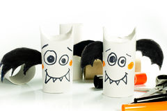 Paper bats for halloween. Bats are created with recycled material for halloween royalty free stock image