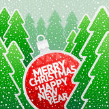 Paper bauble with holidays greeting Stock Images