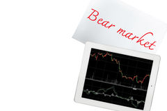 Paper with bear market text and tablet with graph is isolated on Royalty Free Stock Photography