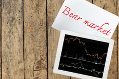 Paper with bear market text and tablet with graph on wood table Royalty Free Stock Image