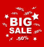 Paper BIG SALE background. Paper BIG SALE on red background Stock Photos