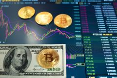 Free Paper Bill Hundred Dollar, USD, Blurred Background. The Electronic Schedule Of Bitcoin On The Exchange, Volume Trades Royalty Free Stock Image - 121418646