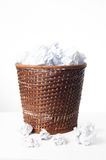 Paper bin full of paper balls royalty free stock photography