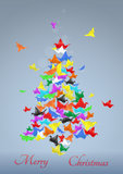 Paper birds christmas tree Stock Photography