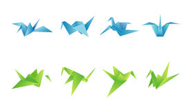 Paper birds in different angles. 3d shapes Stock Photos