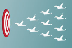 Paper Birds flying to success. Leadership and teamwork concept. Royalty Free Stock Images