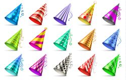 Paper birthday party hats isolated. Funny caps for celebration vector set. Cap cone for birthday party illustration Royalty Free Stock Images