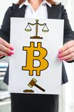 Bitcoin regulation concept shown by a businesswoman. Paper with bitcoin regulation concept held by a businesswoman stock photos