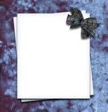 Paper blank. With bow in corner on velvet fabric stock illustration