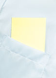 Paper blank in the classic shirt pocket with space for text Royalty Free Stock Images