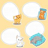 4 paper blank of drawn little cats. stock illustration