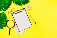 Paper blank with office supplies on a yellow background. Concept of new job, hiring recruitment process, new team members. Screening royalty free stock photos