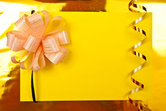 Paper Blank On Yellow Stock Photo