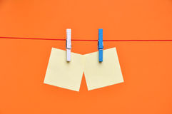 Paper Blanks Hanging on a Rope Royalty Free Stock Images