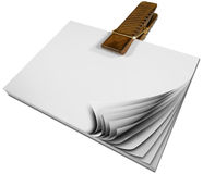 Paper Block Notes with Wooden Clothespin Royalty Free Stock Images