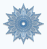 Paper blue snowflake, lace doily, mandala. Winter ornamental dec Stock Photos