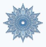 Paper blue snowflake, lace doily, mandala. Winter ornamental dec Stock Photos