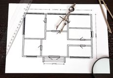 Paper with blueprint Royalty Free Stock Photography