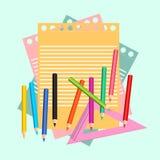 paper blyertspennor Ämnen för skola och kontor ocks? vektor f?r coreldrawillustration royaltyfri illustrationer