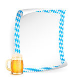 Paper board with frame in bavarian colors and beer vector illustration